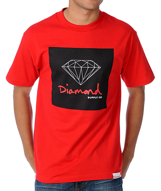 Diamond supply co og sign red t shirt for The red t shirt company