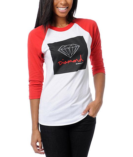 Diamond Supply Co OG Sign White & Red Baseball Tee