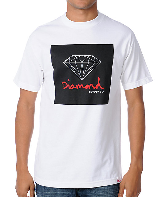Diamond supply co og sign white t shirt at zumiez pdp for Wholesale diamond supply co shirts