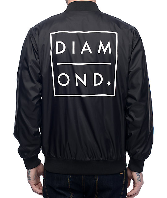 Diamond Supply Co Outline Black Nylon Bomber Jacket