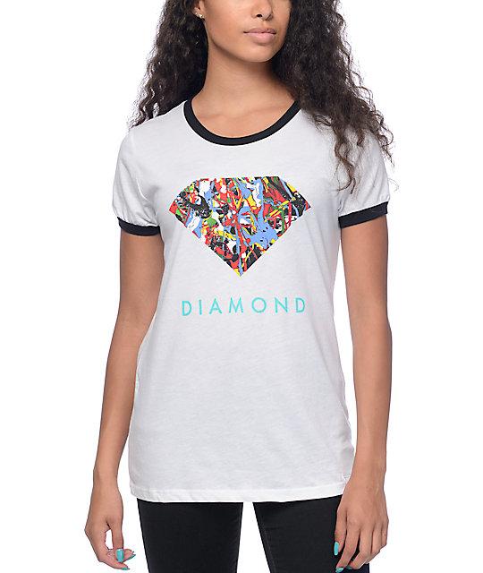 Diamond Supply Co Painted Diamond White & Black Ringer T-Shirt