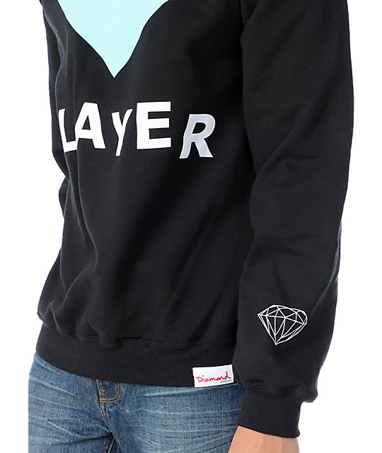 Diamond Supply Co Player Black Crew Neck Sweatshirt