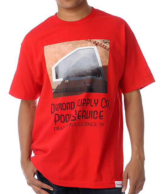 Diamond Supply Co Pool Service Red T-Shirt