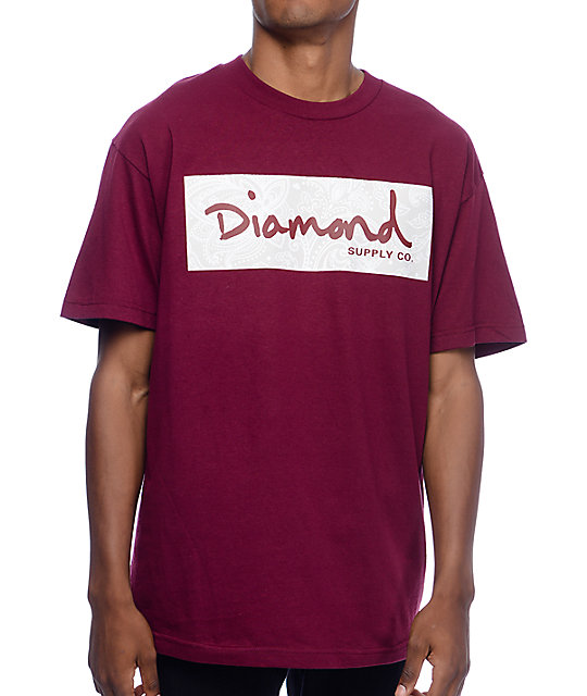 Diamond Supply Co Radiant Box Logo Burgundy T Shirt