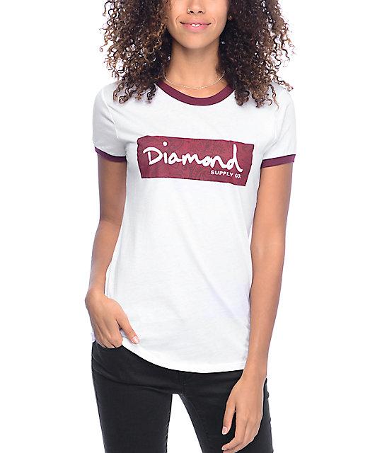 Diamond Supply Co Radiant Box Logo White & Burgundy Ringer T-Shirt