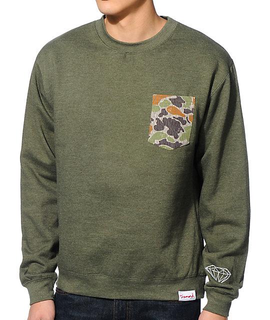 Diamond Supply Co Rainfrog Green Crew Neck Pocket Sweatshirt