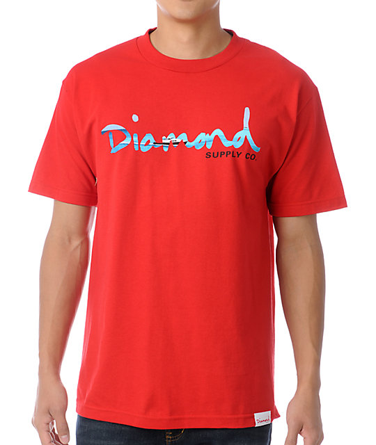 Diamond supply co red og yacht t shirt at zumiez pdp for Wholesale diamond supply co shirts