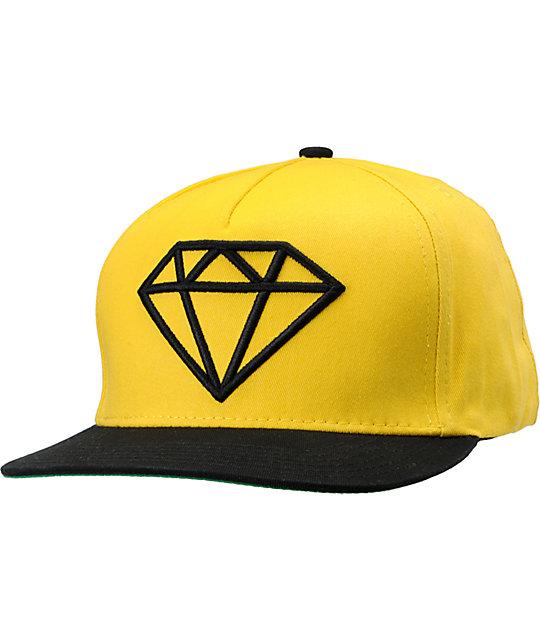 Diamond Supply Co Rock Black & Yellow Snapback Hat