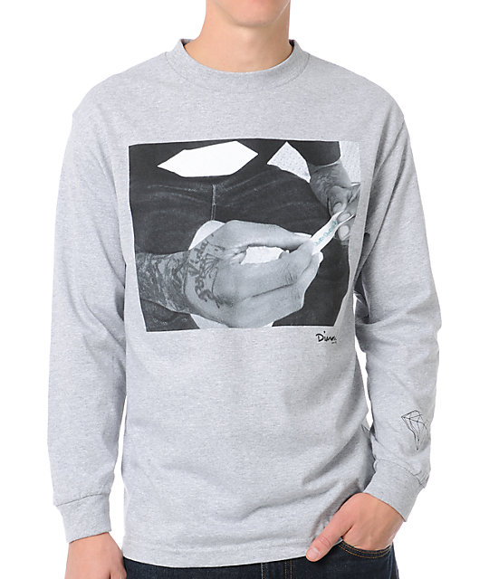 Diamond Supply Co Rollin Diamonds Grey Long Sleeve T-Shirt