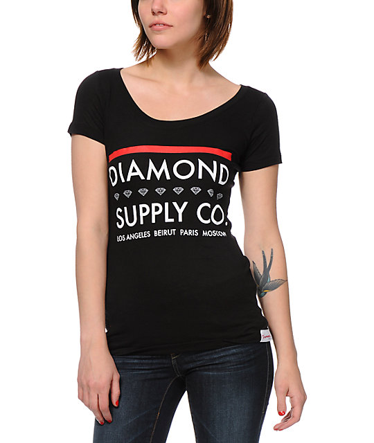 Diamond Supply Co Roots Black Scoop Neck T-Shirt