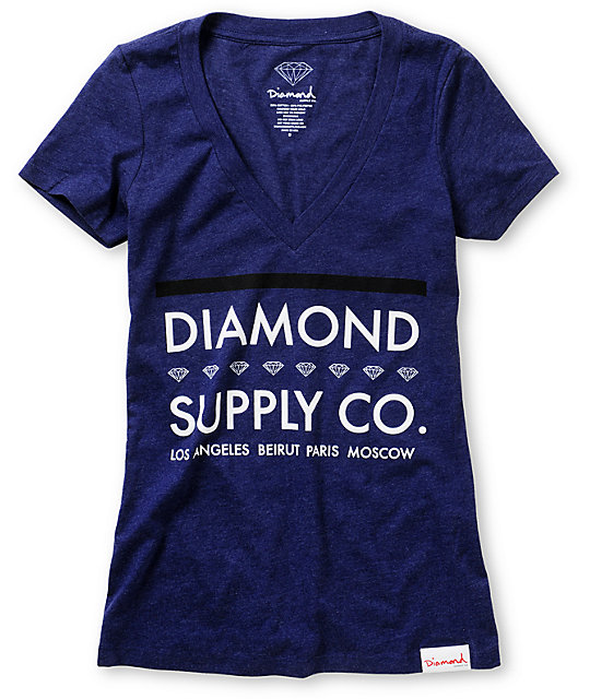 Diamond Supply Co Roots Dark Blue V-Neck T-Shirt