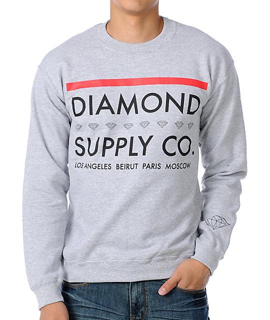 Diamond Supply Co Roots Grey Crew Neck Sweatshirt