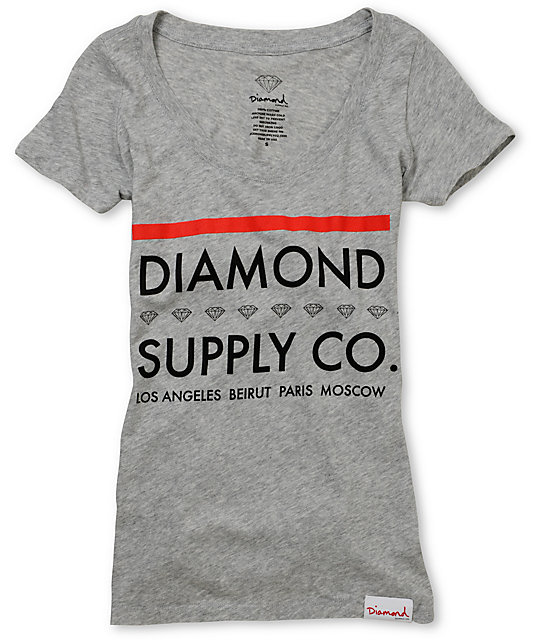 Diamond Supply Co Roots Grey Scoop Neck T-Shirt