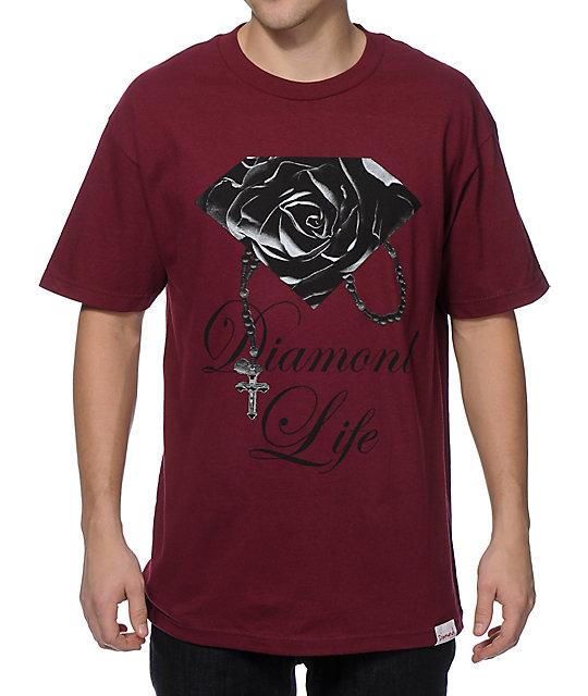 Diamond supply co rose brilliant t shirt at zumiez pdp for Wholesale diamond supply co shirts
