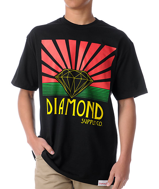 Diamond Supply Co Shining Black & Rasta T-Shirt