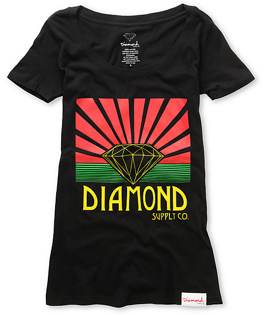 Diamond Supply Co Shining Black Scoop Neck T-Shirt