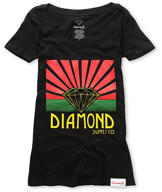Diamond Supply Co Shining Black Scoop Neck T-Shirt