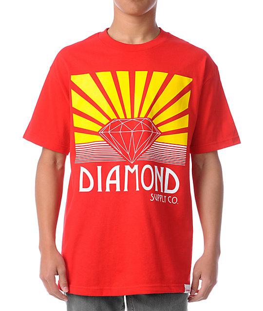Diamond supply co shining red t shirt at zumiez pdp for Wholesale diamond supply co shirts