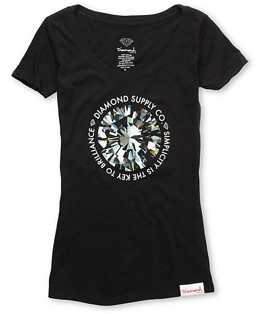 Diamond Supply Co Simplicity Black Scoop Neck T-Shirt