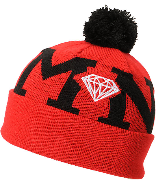 Diamond Supply Co Snow Pom Red & Black Beanie