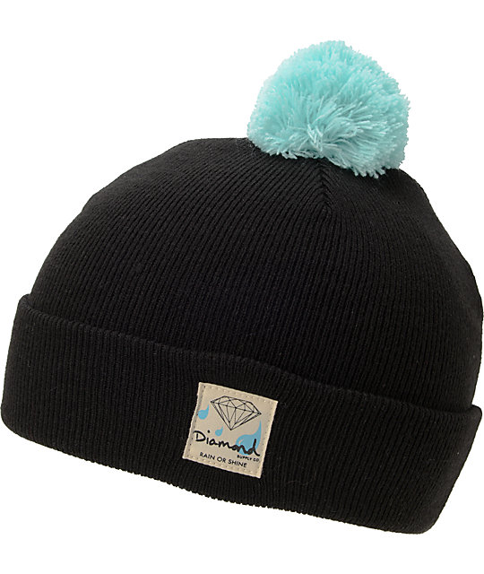 Diamond Supply Co Snow Shine Black & Blue Pom Beanie