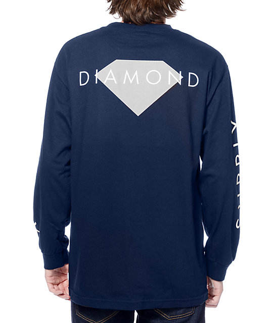Diamond Supply Co Solid Navy Long Sleeve T-Shirt