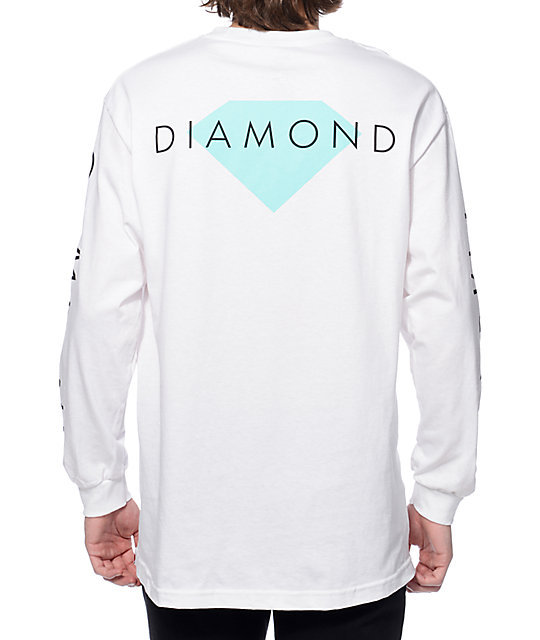 Diamond Supply Co Solid White Long Sleeve T-Shirt at Zumiez : PDP