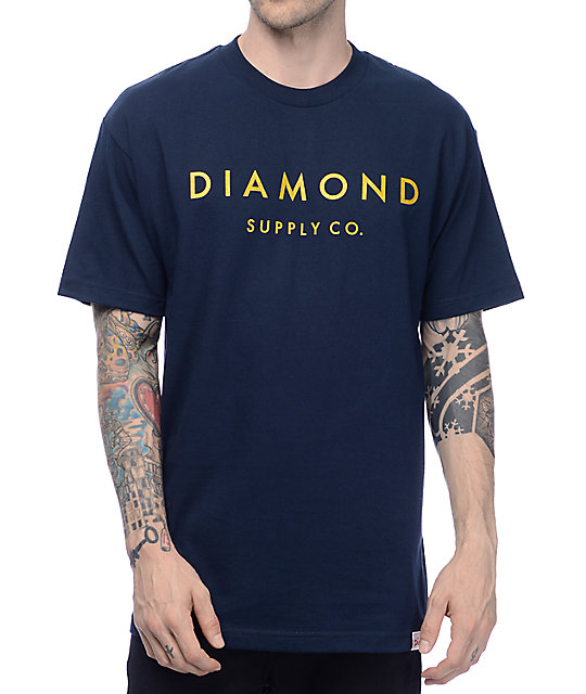 Diamond supply co stone cut military navy t shirt at for Wholesale diamond supply co shirts