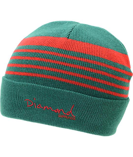 Diamond Supply Co Stripes Green & Red Cuff Beanie