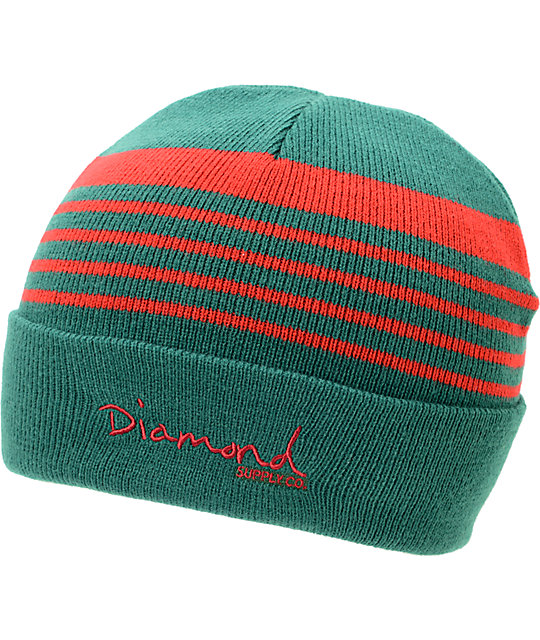 Diamond Supply Co Stripes Green & Red Fold Beanie