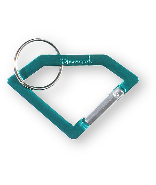 Diamond Supply Co Teal Carabineer Rock Key Chain