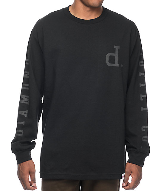 Diamond Supply Co Tonal Un-Polo Black Long Sleeve T-Shirt at ...