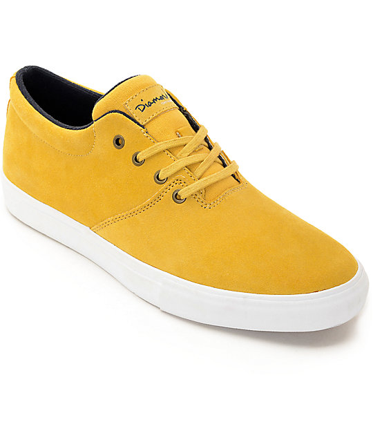 Diamond Supply Co Torey Mustard & White Skate Shoes at ... - photo#43
