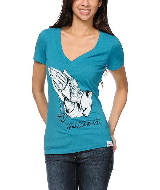 Diamond Supply Co Treasure Teal V-Neck T-Shirt