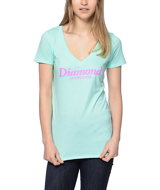 Diamond Supply Co Typeset Mint V Neck T-Shirt