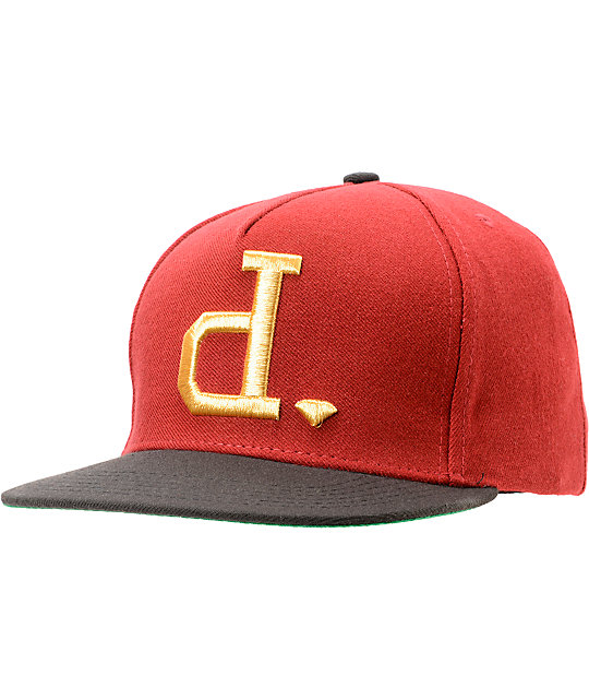 Diamond Supply Co Un Polo Burgundy & Gold Snapback Hat