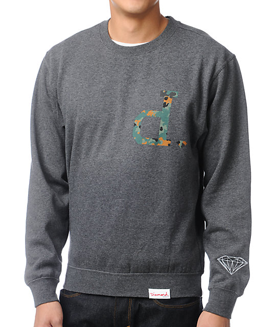 Diamond Supply Co Un Polo Camo & Charcoal Crew Neck Sweatshirt