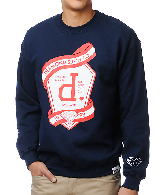 Diamond Supply Co Un Polo Emblem Navy Crew Neck Sweatshirt at ...