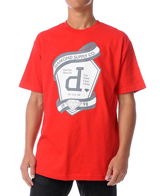Diamond supply co un polo emblem red t shirt for Diamond supply co polo shirts