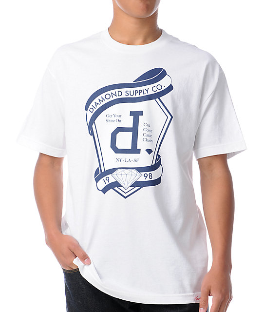 Diamond supply co un polo emblem white t shirt for Diamond supply co polo shirts
