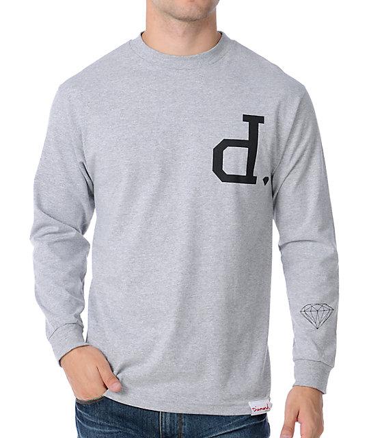 Diamond supply co un polo grey long sleeve t shirt for Diamond supply co polo shirts