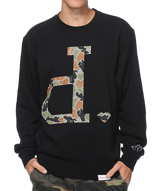 Diamond Supply Co Un Polo Rain Camo Black Crew Neck Sweatshirt