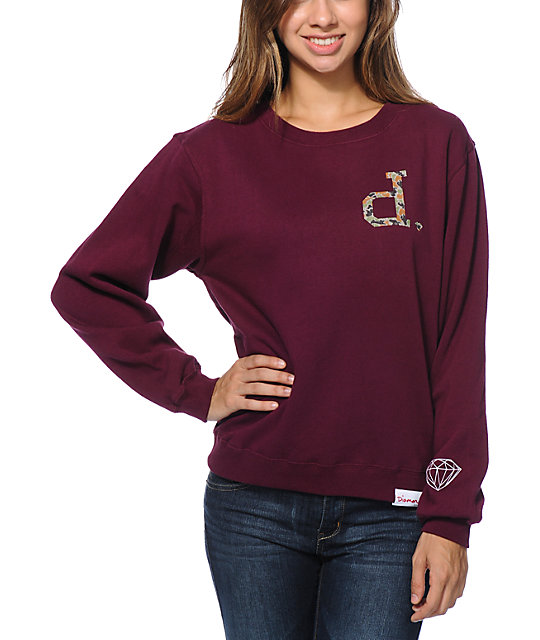 Diamond Supply Co Un-Polo Rain Camo Burgundy Crew Neck Sweatshirt
