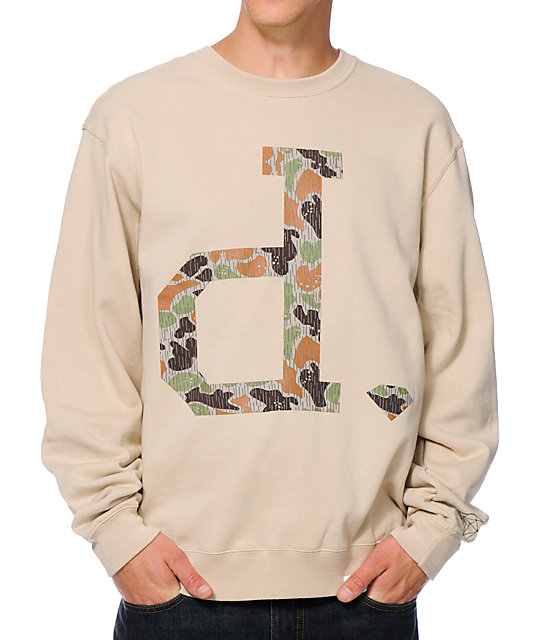 Diamond Supply Co Un Polo Rain Camo Khaki Crew Neck Sweatshirt