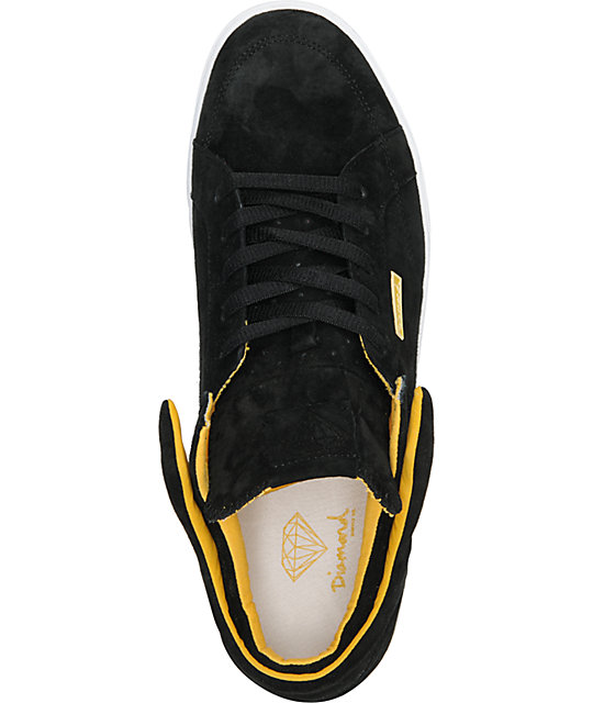 Diamond Supply Co VVS Black & Yellow Suede Skate Shoes