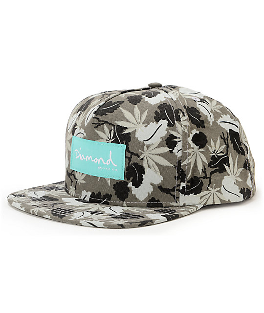 Diamond Supply Co Weed Black & Grey Snapback Hat