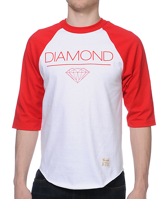 Diamond Supply Co Whitespace Raglan Red & White Baseball T-Shirt
