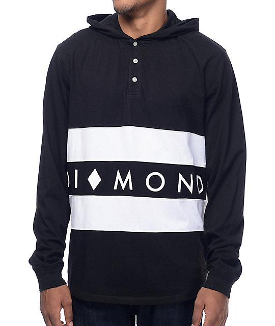 Diamond Supply Co Winston Black Hooded Long Sleeve T-Shirt at ...
