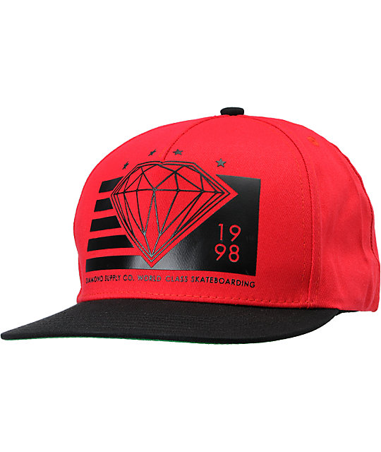 Diamond Supply Co World Class Red & Black Snapback Hat