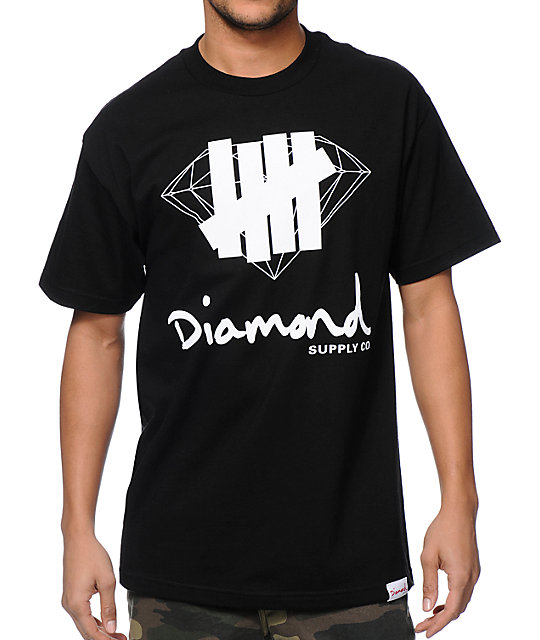Diamond Supply Co x Undefeated Logo Overlay Black T-Shirt